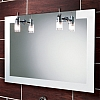 Felix Mirror art no: 64283495 Size: H60 x W90 x D3.5cm Landscape mirror with frosted glass edges. Two chrome halogen lights, fitted with Demista pad.