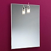 Leila Mirror art no: 64281500 Size: H70 x W50 x D3.5cm Sophisticated and steam free due to its unique back fitted Demista pad. Single halogen light with glass shade.