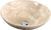 BLOK 1 umywalka kamienna, średnica 40cm, polerowany beżowy trawertyn