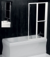 LANKA2 parawan wannowy pneumatyczny 820mm, biała rama, szkło czyste