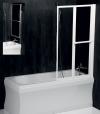 LANKA2 parawan wannowy pneumatyczny 830mm, biała rama, szkło czyste