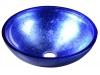 MURANO BLU, umywalka szklana okrągła 40x14cm, niebieska