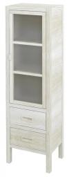 BRAND szafka 2 szuflady, szklane drzwiczki 40x140x30cm, prawa, starobiała