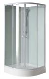 AIGO boks prysznicowy półokrągły 900x900x2060mm, biały profil, szkło czyste