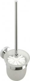 X-ROUND  szczotka WC naścienna, pojemnik mleczne szkło, chrom